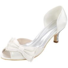 Svadobné topánky a topánky s jednoduchou veľkosťou lukom saténové sandále