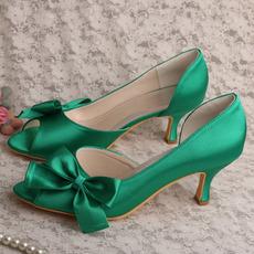 Saténové motýlie svadobné topánky bočné duté ihlové vysoké podpätky zelené topánky pre družičku