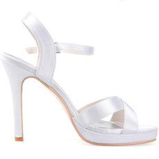 Vlastné high-end kríž tenký pás ženy sandále saténové svadobné topánky banketové topánky