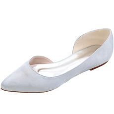 Špicaté topánky na saténové ploché topánky na ples pre bežné dámske topánky