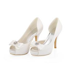 Biele svadobné vysoké podpätky saténové hodvábne svadobné topánky ihlové topánky pre ženy