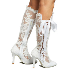 Duté čižmy sexy čipkované vysoké čižmy cez koleno ihlové podpätky svadobné dámske čižmy