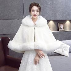 Svadobný šatkový plášť zateplený umelou kožušinou