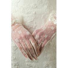 Svadobné rukavice Žiaduce priehľadné krátke dekorácie Slonovina