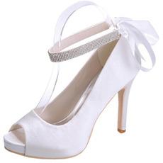 Saténové ihlové svadobné topánky ryby ústa topánky banket výročná party módne topánky