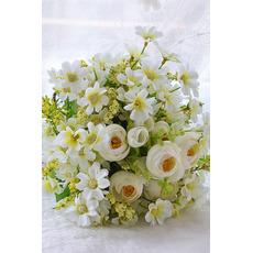 Zelené a biele čajové kvety ručné kytice Kórejské nevesty si vzal simuláciu