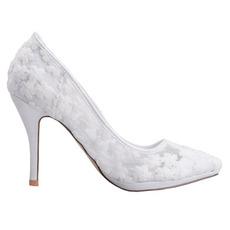 Jarná čipka plytká ústa špicaté topánky vyšívané kvety vysoké podpätky biele svadobné topánky