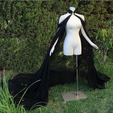 Čierny šifónový výkon Performance pláštenka svadobná svadba