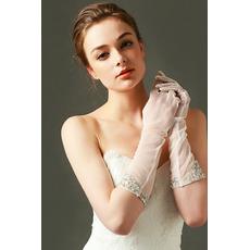 Svadobné rukavice Tylový odtieň Želaný perlový jeseň Plný prst