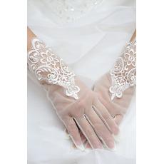 Svadobné rukavice Fabric Čipka malebná krajková výzdoba