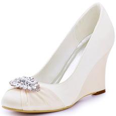 10 cm vysoké podpätky na klinovom podpätku, hrubé dámske topánky a svadobné topánky na lodičke s veľkosťou