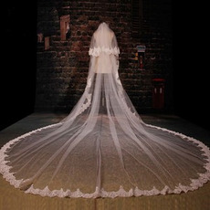 Svadobné Veil slávnostné zimné chodník dlhé krajkové tkaniny