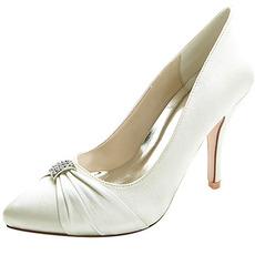 Dámske špičaté svadobné topánky módne vysoké podpätky drahokamu saténové topánky