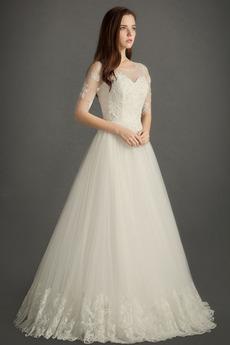 Elegantné Prírodné pása Šperk A Riadok Zips hore Svadobné šaty