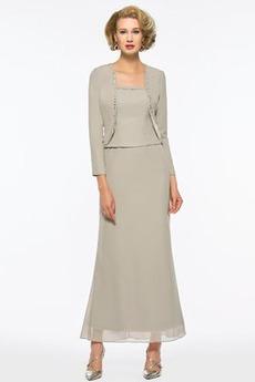 Členok dĺžka Tenké Formálne Svadobné Dlhými rukávmi Matné šaty