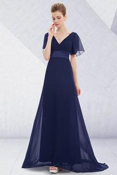 Skladaný živôtik Zvrásnený A-Riadok Voľná rukávmi Večerné šaty