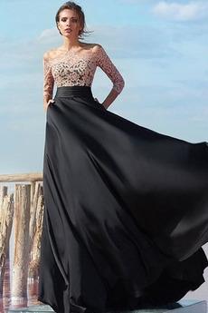 Čipka A-Riadok Tri štvrtiny rukávy Elegantné Banket Večerné šaty