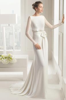 Dlho Dlhými rukávmi Zavesený Bateau Tesný Prírodné pása Svadobné šaty