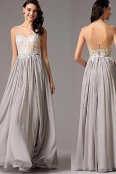 3196a32fcdbd Zimné Prírodné pása Formálne Šifón Svadobné Čipkou Overlay Večerné šaty