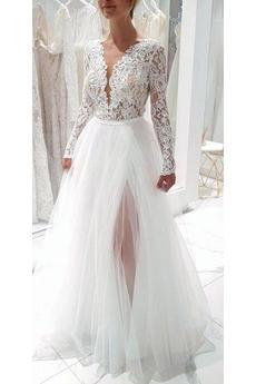 Dlhými rukávmi Čipka Tričko Elegantný Dĺžka podlahy Svadobné šaty