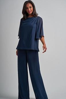 Zavesený Zips nahor Oblek na nohavice Šifón Lopta Matné šaty