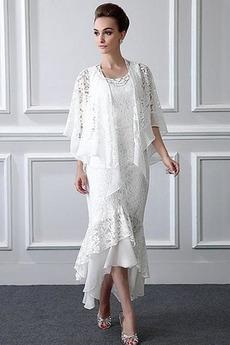 Bez rukávov Čipkou Overlay Asymetrické Voľná rukávmi Matné šaty