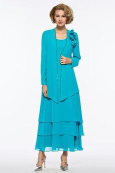 Dlhými rukávmi Kaskádové Viacvrstvový Lopatka Prírodné pása Matné šaty