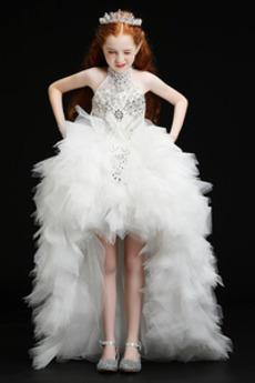 Tyl Očarujúce Vysoká krk Drahokamy živôtik Kaplnka vlak Kvetinové šaty
