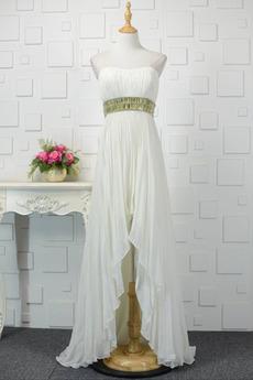 Sexy Beaded pásu Asymetrické Lopta Prírodné pása Večerné šaty