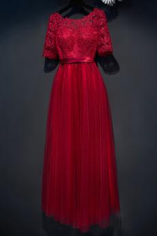 Klasický S hlbokým výstrihom Nachový Letné Ilúzia rukávmi Družičky šaty