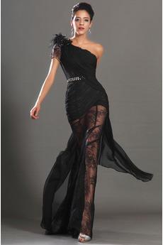 Očarujúce Bez rukávov Čipka Čierna Asymetrické rukávmi Stužková Šaty