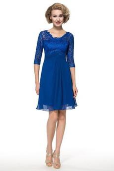 Šifón Zips hore A Riadok Kolená Chýbať Elegantné Polovica rukávmi Matné šaty