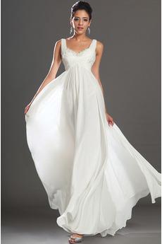 Bez rukávov Skladaný živôtik Biela Členok dĺžka Večerné šaty