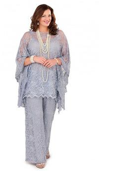 Ostýchavý Čipka Voľná rukávmi Oblek S nohavice Matka šaty obleky