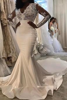 V krku Vonkajší Nášivky Hlboký výstrih Prírodné pása Svadobné šaty