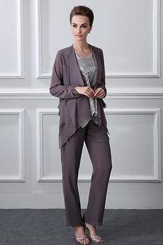 Okázalý Dva kusy Šifón Oblek na nohavice Navliekanie korálok Matka šaty obleky