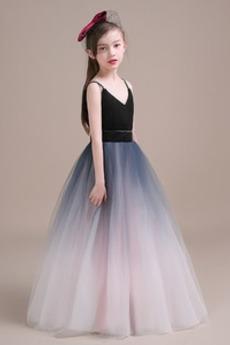 Bez rukávov Tyl Chýbať Elegantné Pružina Prírodné pása Kvetinové šaty