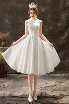 Číre zadné A-Riadok Elegantné Bez rukávov Vysoká krk Poroka Obleko