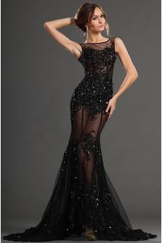 Sexy Širokým hrdlom Vysoká zahrnuté Čipka Čierna Cocktail obleko