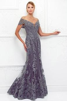 Elegantný V krku Pružina Čipka Dlho Morská panna Limitovaný rukávy Matné šaty