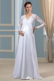 Čipka Dĺžka podlahy Ríša pasu Letné Šifón Dlhými rukávmi Svadobné šaty