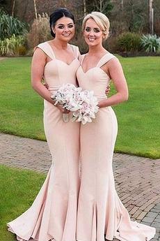 Široké popruhy Svadobné Bez rukávov Zavesený Dlho Družičky šaty