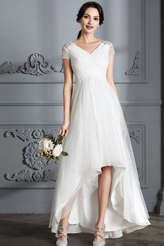 Krátke rukávy Zips hore Elegantné Zavesený Asymetrické Svadobné šaty