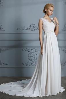Prostý Bez rukávov S hlbokým výstrihom Prírodné pása Svadobné šaty