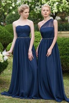 Bez ramienok Dlho A-Riadok Jeseň Jednoduché Skladaný živôtik Družičky šaty