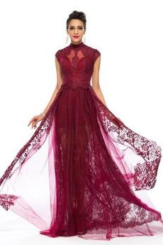 A Riadok Prírodné pása Vysoká krk Večierok Šik Čipkou Overlay Večerné šaty