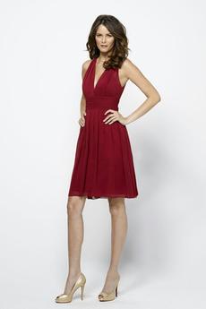 Očarujúce Dĺžka kolena Pošva Tmavo červená Hlboký výstrih Družičky šaty