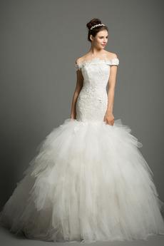 Morská panna Prírodné pása Off rameno Elegantné Svadobné šaty