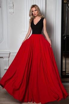 Dĺžka podlahy V krku Formálne A Riadok Lopta Zimné Večerné šaty