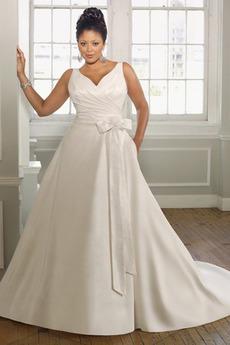 Princezná Stredná späť Satén Pružina Plusová velkosť Svadobné šaty